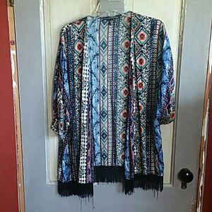 French Laundry Kimono With Fringe